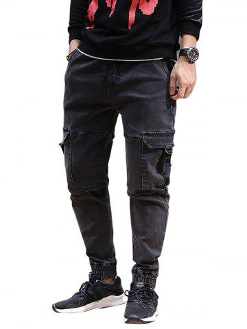 Denim Cargo Pockets Joggers Jeans