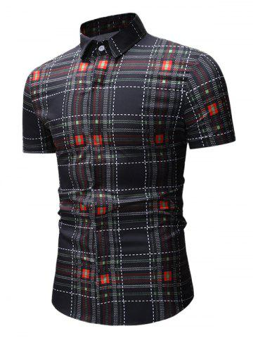 Checked Print Short Sleeve Button Up Shirt