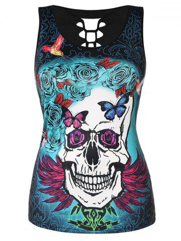Racerback Plus Size Skull Pattern Tank Top