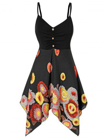 Plus Size Floral Print Empire Waist Handkerchief Dress