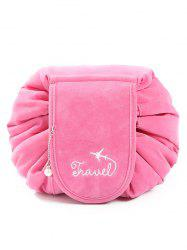 Faux Pearl Decoration Corduroy Cosmetic Bag -