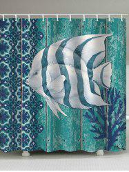 Wood Grain Fish Print Waterproof Bathroom Shower Curtain -