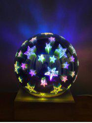 3D Glass Cover Firework Stars LED Night Light -