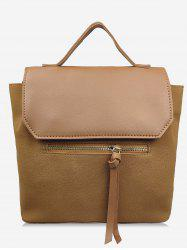 Leather Student Solid Backpack -