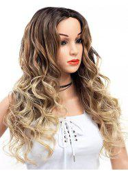 Long Center Parting Wavy Colormix Capless Synthetic Wig -
