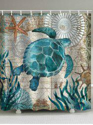 Nautical Turtle Print Waterproof Bathroom Shower Curtain -