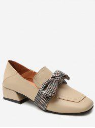 Contrast Bowknot Square Toe Shoes -