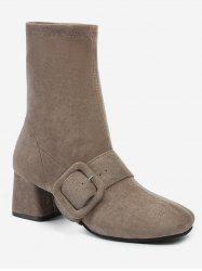Square Toe Buckle Mid Calf Boots -