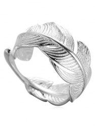 Metal Feather Shape Adjustable Open Ring -