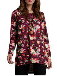 Floral Lace Panel Lattice Tunic Tee -