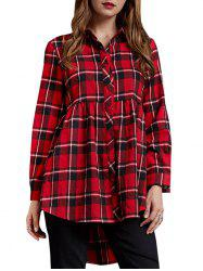High Low Plaid Tunic Shirt -