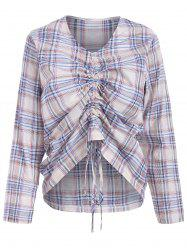Checked Tie Drawstring Ruched Blouse -