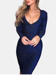 Metallic Thread Ruched Bodycon Dress -