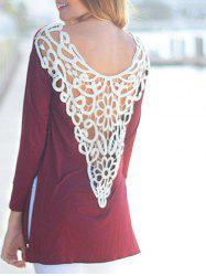 Openwork Long Sleeve Casual Top -