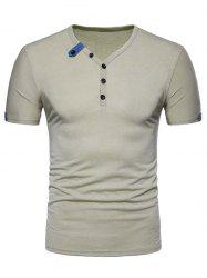 Buttons Embellished Short Sleeves Tee -