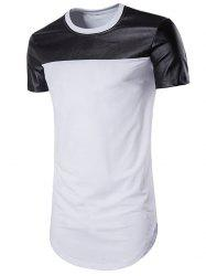 Faux Leather Panel Round Hem Tee -