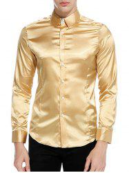 Button Up Long Sleeves Satin Shirt -