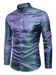 Long Sleeves Patterned Shiny Shirt -