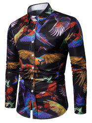 Parrots Print Long Sleeves Button Up Shirt -