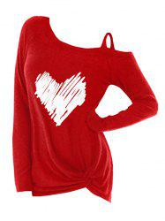 Plus Size Two Tone Front Knot T Shirt -