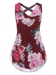 Plus Size V Neck Floral Strappy Tank Top -