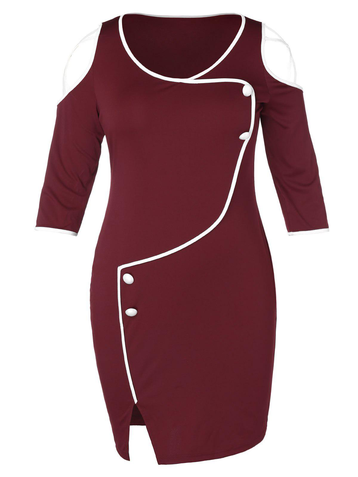Trendy Plus Size Open Shoulder Criss Cross Contrast Color Button Slit Dress