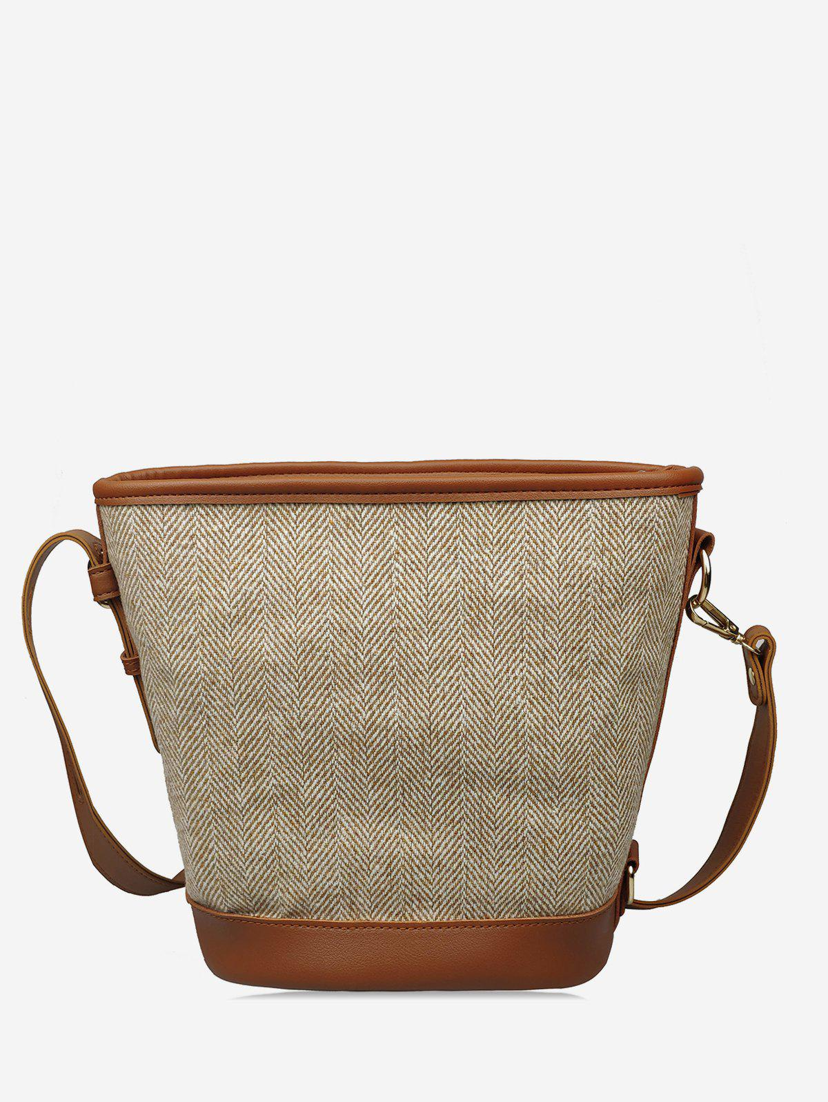 Chic Knitted Canvas Bucket Shoulder Bag
