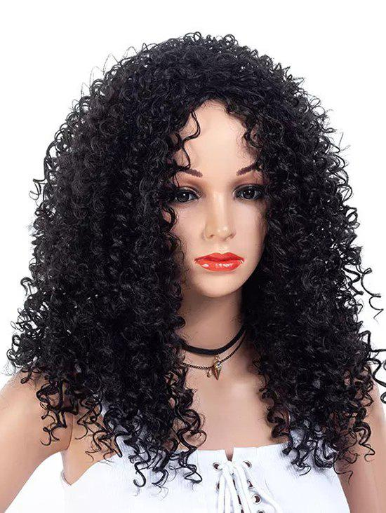 Discount Inclined Bang Long Fluffy Kinky Curly Synthetic Wig