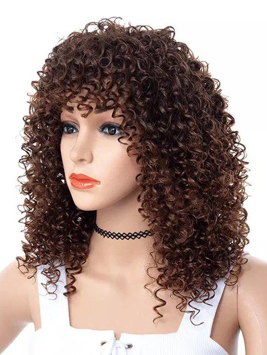 Affordable Full Bang Long Kinky Curly Party Capless Synthetic Wig