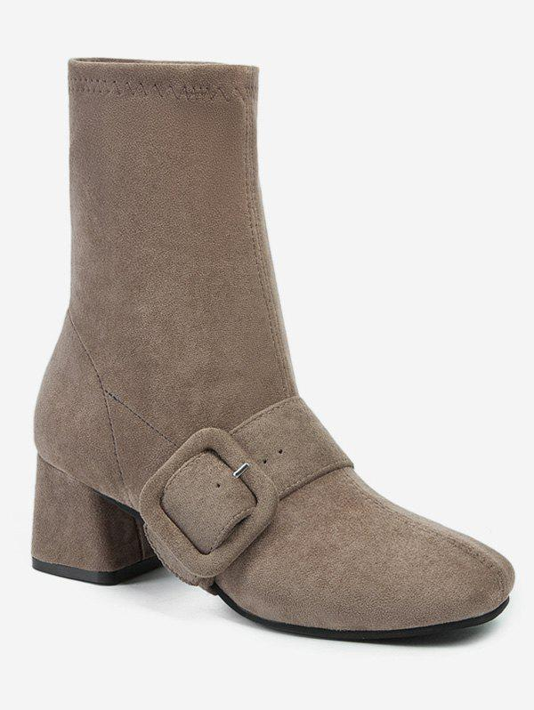 Buy Square Toe Buckle Mid Calf Boots