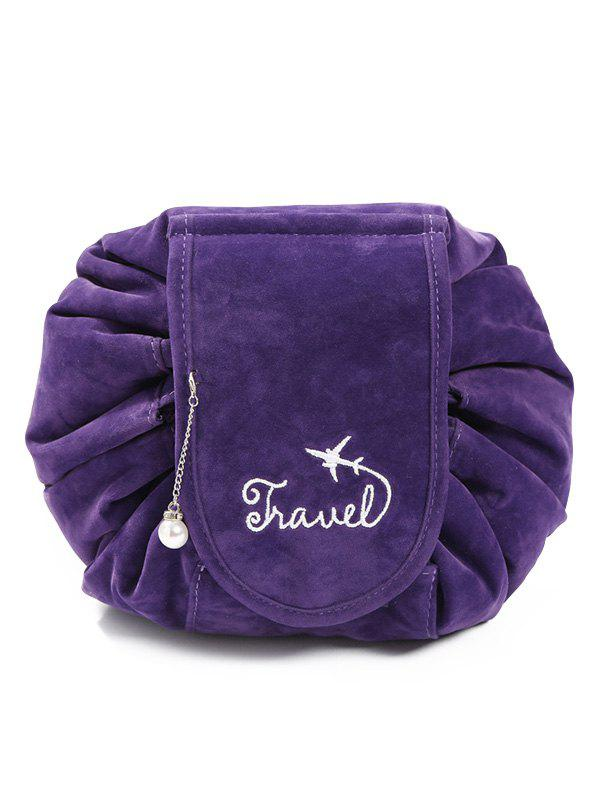 Outfit Faux Pearl Decoration Corduroy Cosmetic Bag