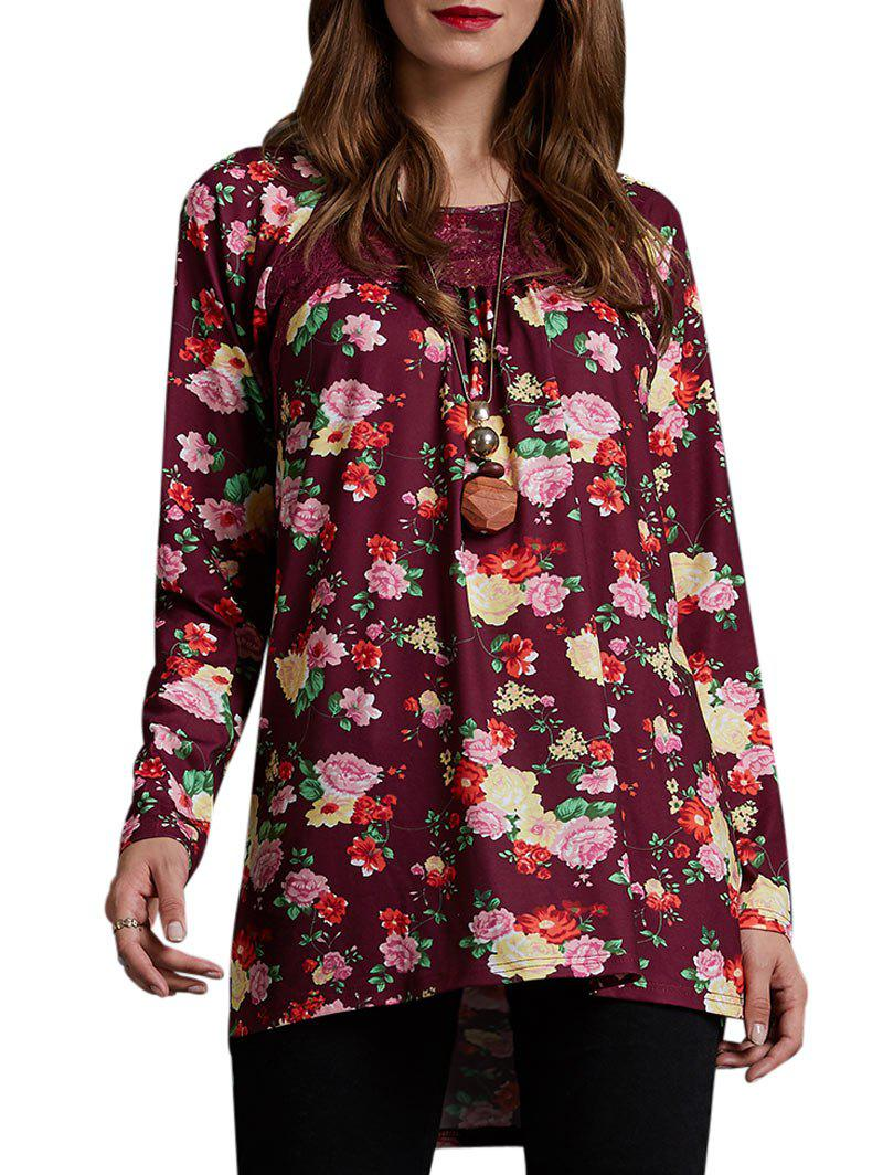 Online Floral Lace Panel Lattice Tunic Tee