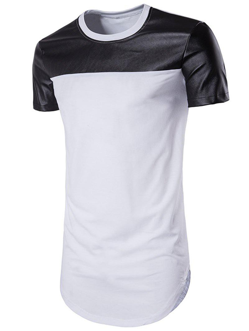 Shop Faux Leather Panel Round Hem Tee