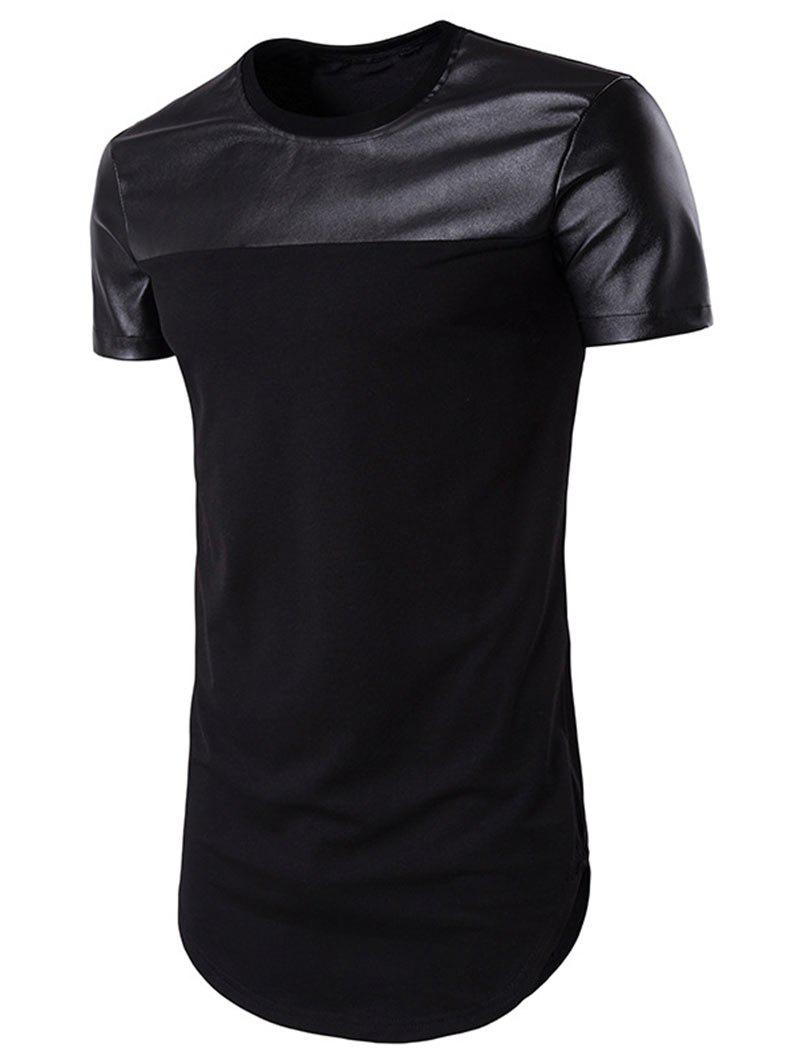 Sale Faux Leather Panel Round Hem Tee