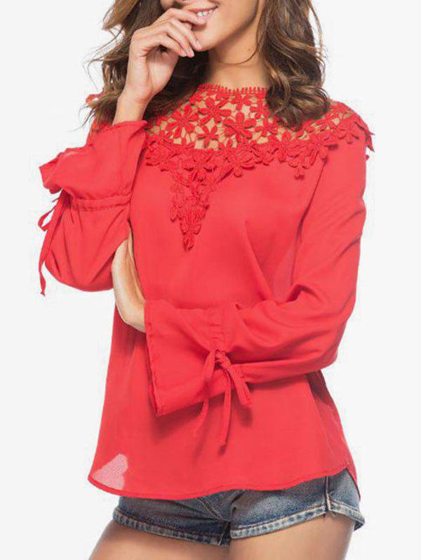 Trendy Crochet Trim Chiffon Top