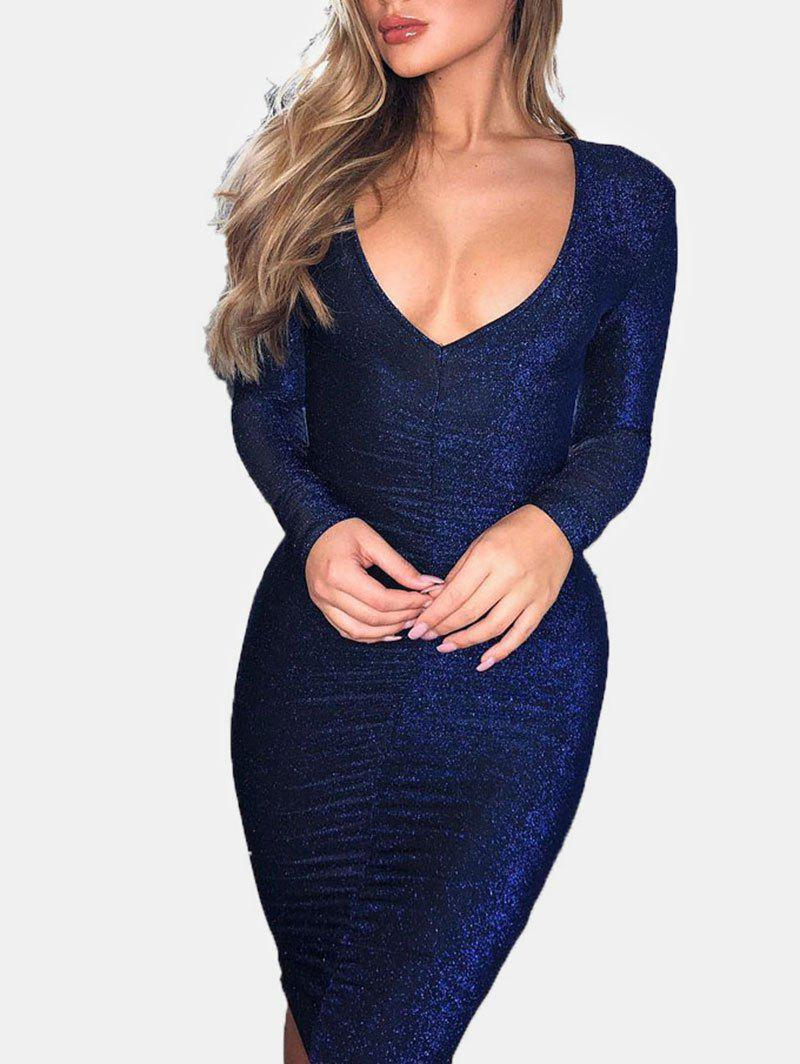 Latest Metallic Thread Ruched Bodycon Dress