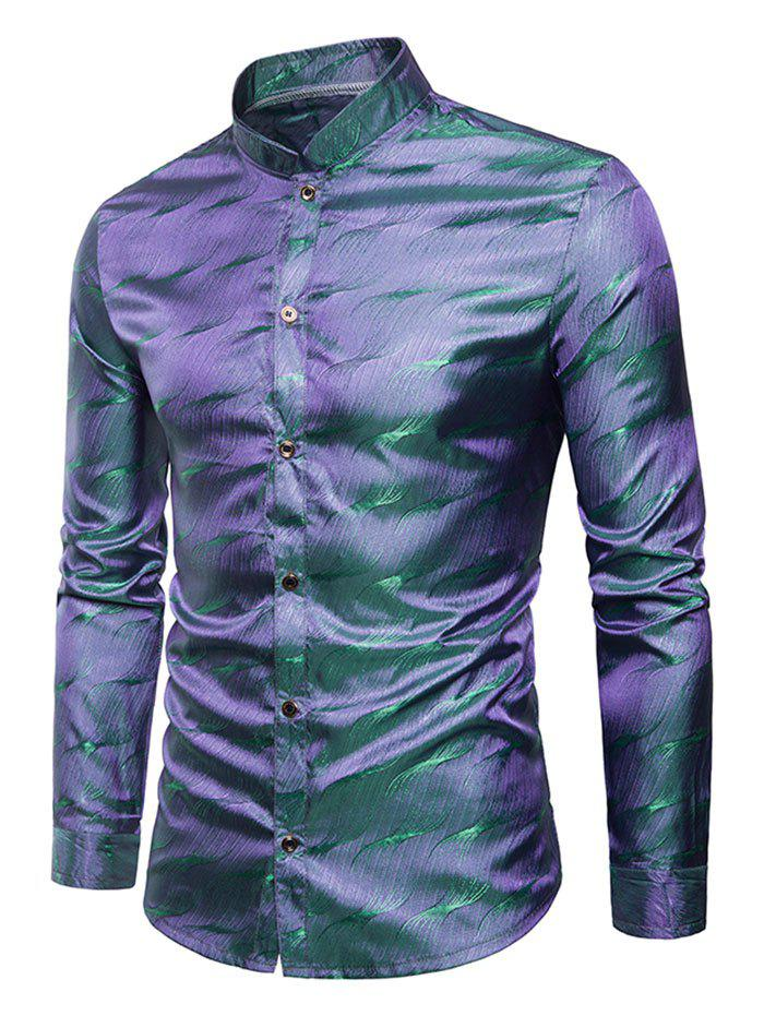 Latest Long Sleeves Patterned Shiny Shirt