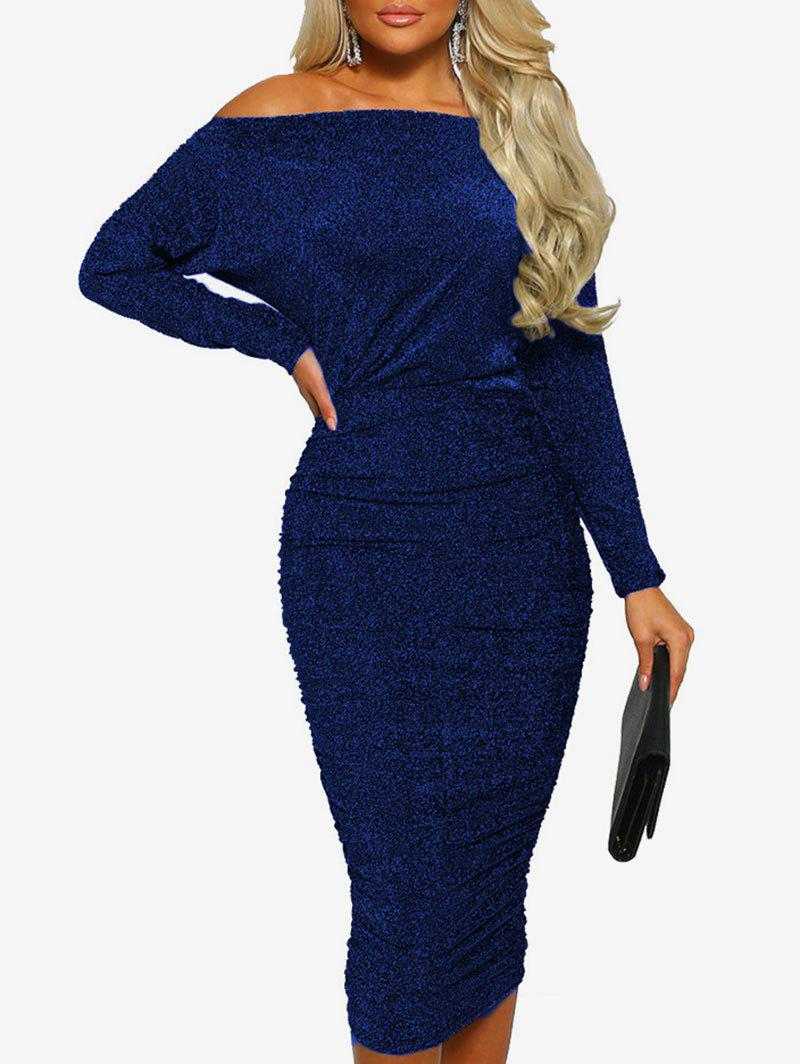 Buy Glitter Off The Shoulder Midi Dress
