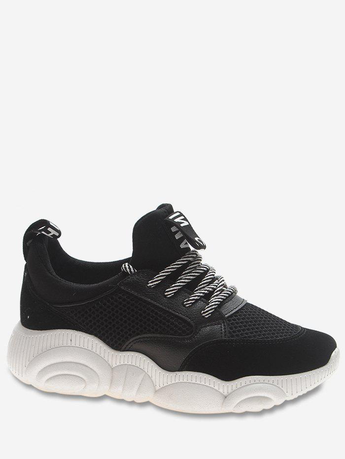 Hot Net Surface Letter Print Lace Up Sports Shoes