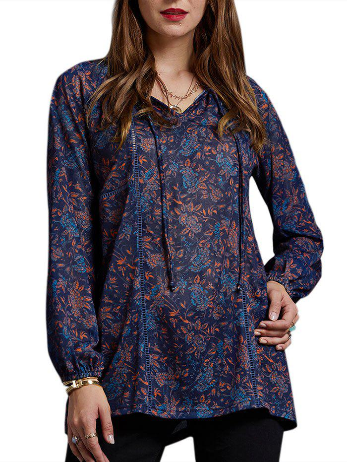 Fancy Front Tied Floral Long Sleeve Tee