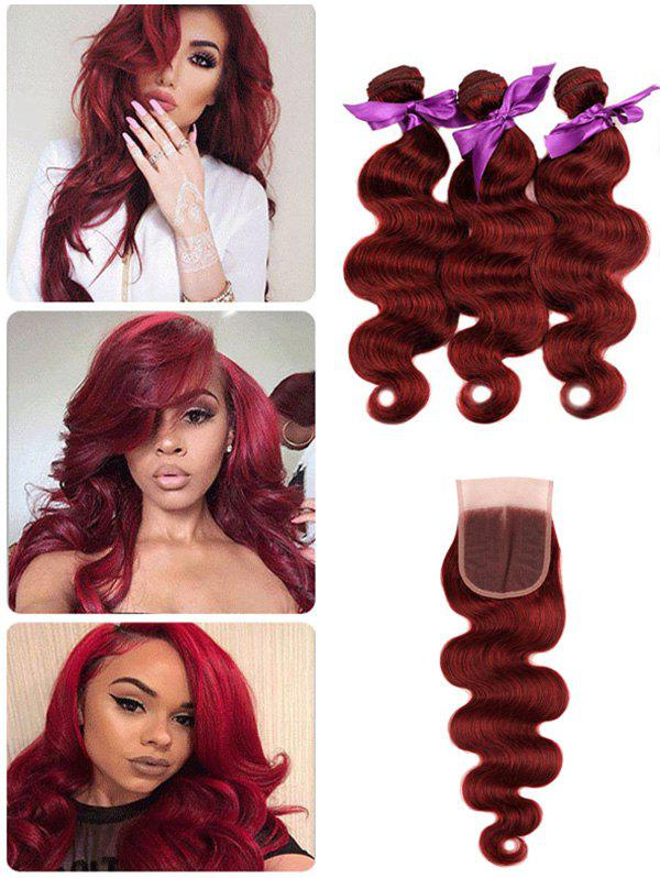 Online Brazilian Virgin Human Hair Body Wave Hair Weaves with Middle Part Lace Closure