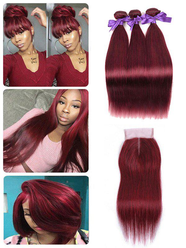 Chic Brazilian Virgin Human Hair Straight Hair Weaves with Middle Part Lace Closure