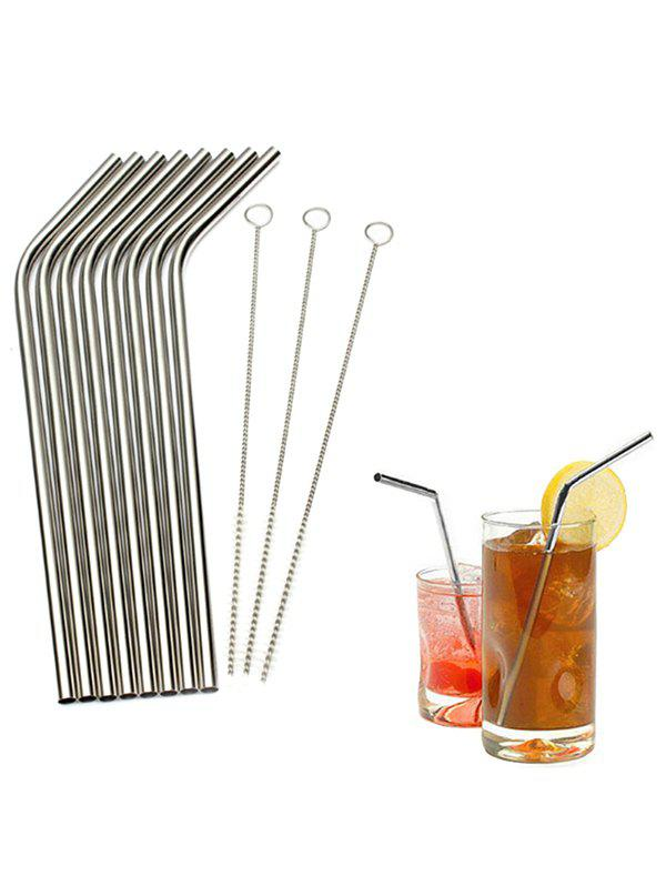 Fashion 8 Pcs Stainless Steel Straw and 3 Pcs Cleaning Brush