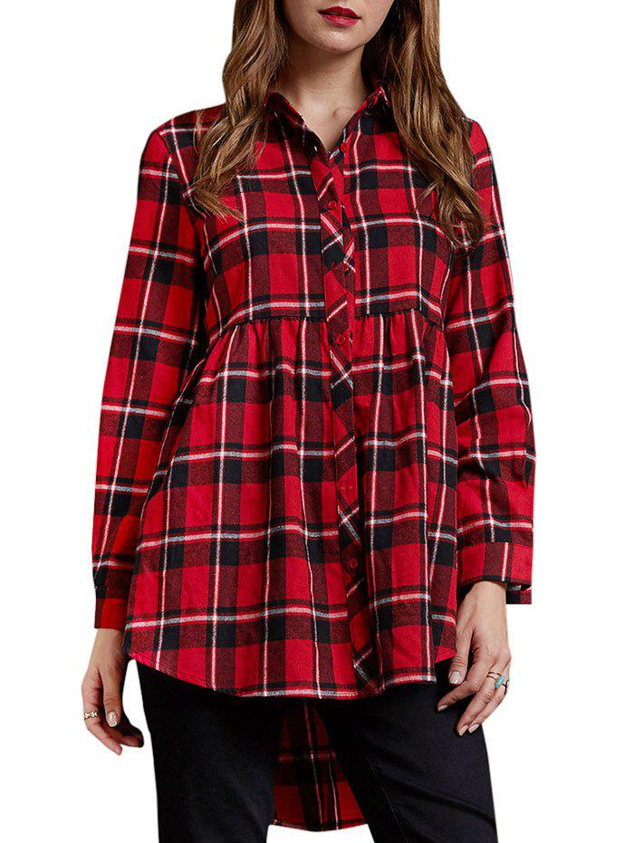 Cheap High Low Plaid Tunic Shirt