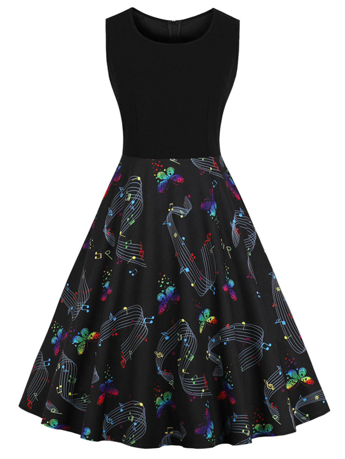 Music Notes and Butterfly Print Plus Size A Line Dress
