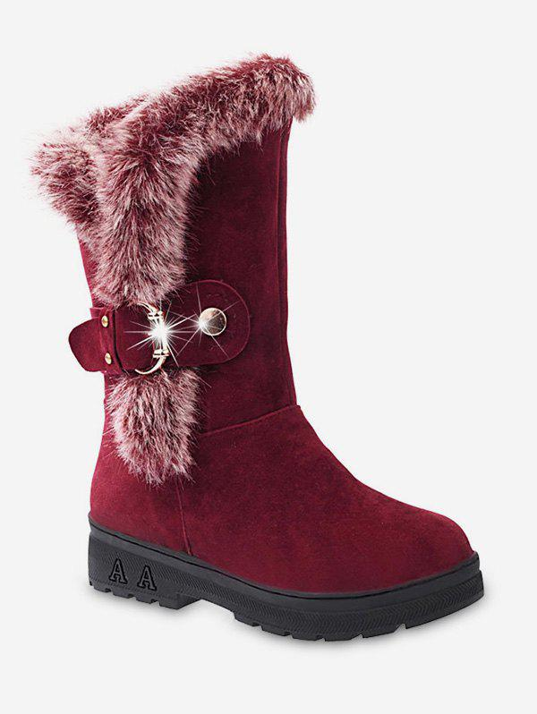 Outfits Faux Fur Trim Buckle Mid Calf Boots
