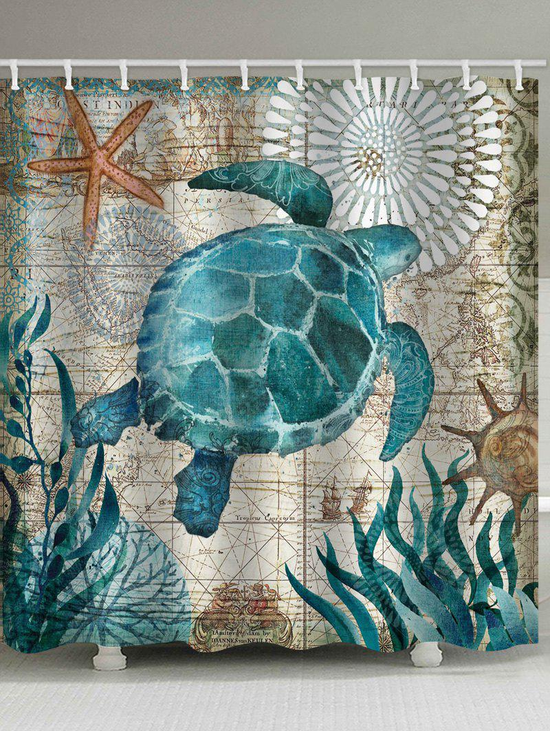 Store Nautical Turtle Print Waterproof Bathroom Shower Curtain