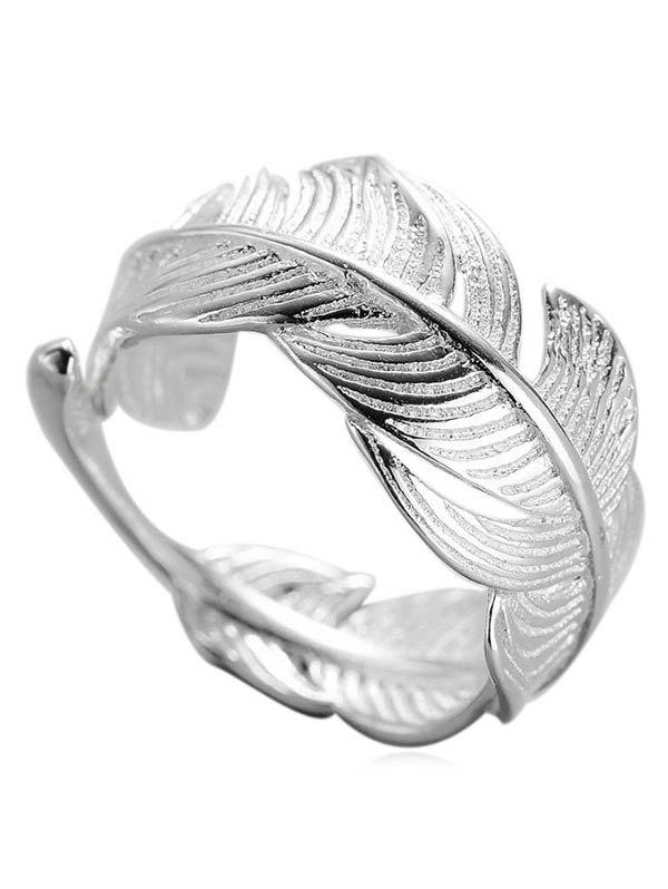 Outfit Metal Feather Shape Adjustable Open Ring