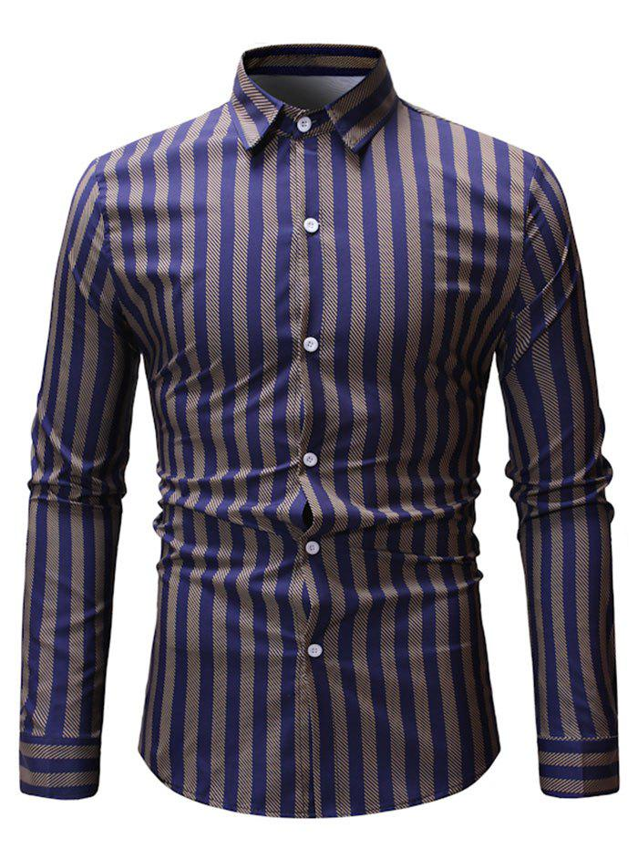 Cheap Contrast Vertical Striped Long Sleeve Shirt