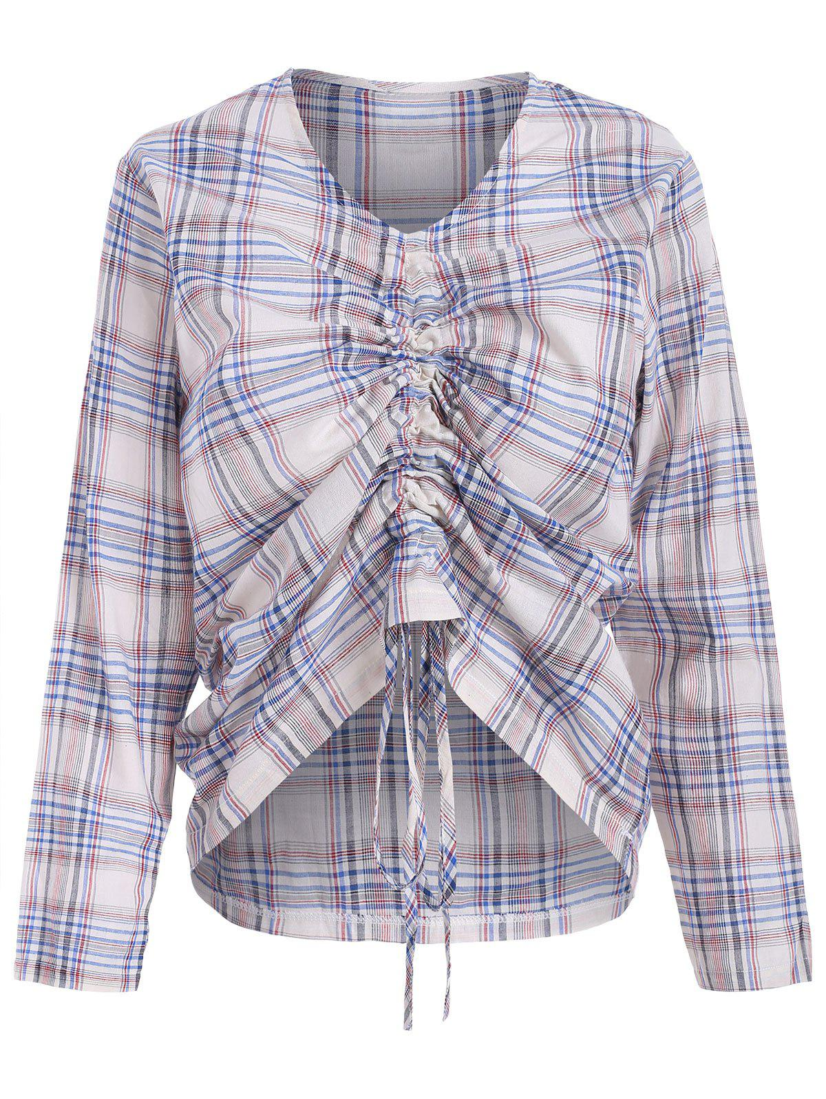Latest Checked Tie Drawstring Ruched Blouse
